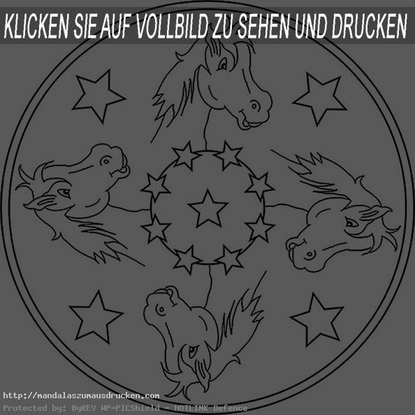 Pferde 4 Mandalas Zum Ausdrucken